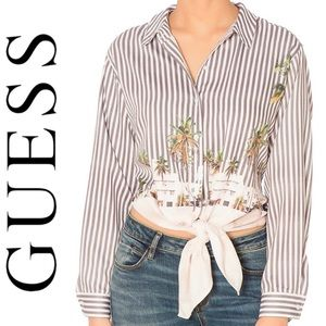 Guess CALLIA STRIPED TIE-FRONT SHIRT
